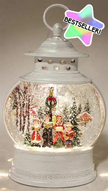 LED Antique Look Water Spinner Lantern w/Carolers