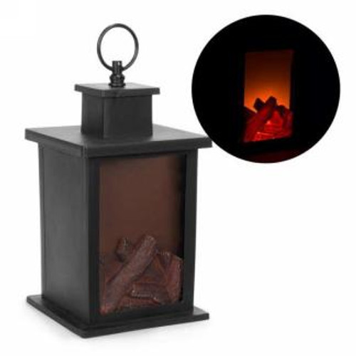 Black led lantern with logs motif