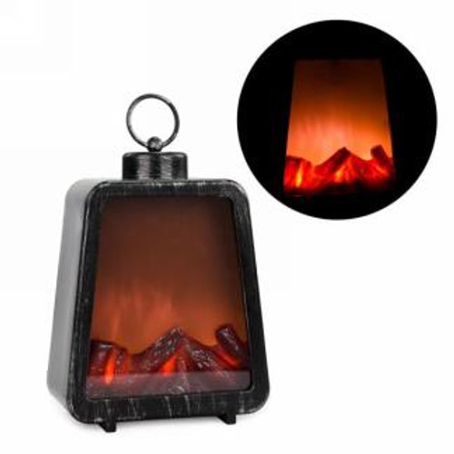Led fireplace lantern in black & silver