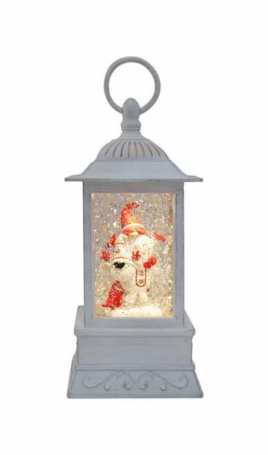 "Glitter Lantern Gnome Antique White 10.5"""