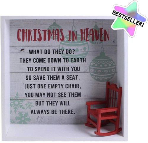 3D Shelf Plaque Christmas in Heaven Empty Chair