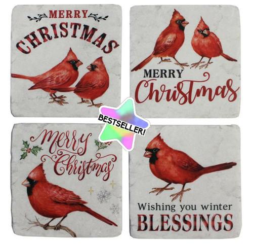 Cardinal Christmas Coasters Polyresin Set of 4