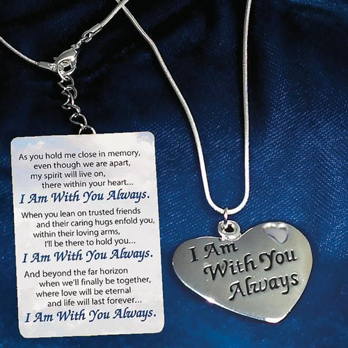 """SILVER WITH YOU ALWAYS HEART PEND ON 18"""" CHAIN GIFT BOXED"""