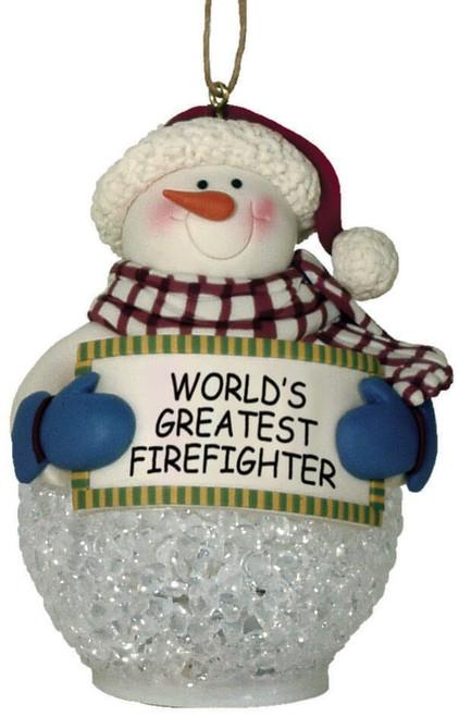 FIREFIGHTER SNOWMAN LED ORNAMENT