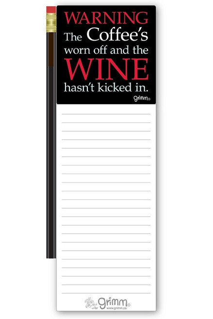 Magnetic Notepad w/Pencil Warning Wine