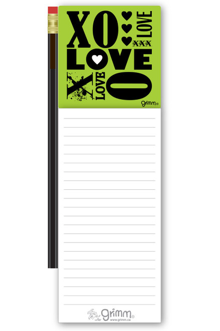Magnetic Notepad w/Pencil XO Love