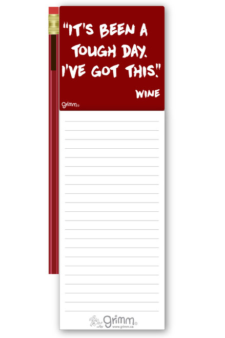 Magnetic Notepad w/Pencil Tough Day Wine