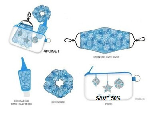 4 Piece PPE Collection/Blue Snowflakes