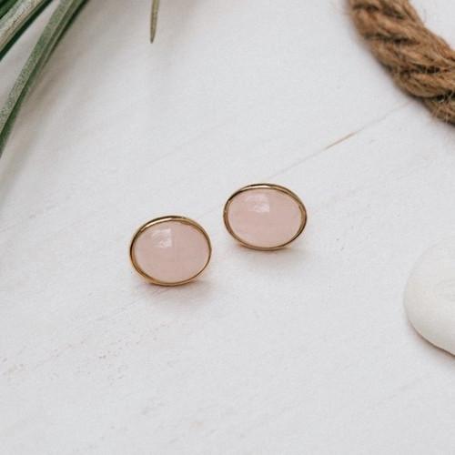 Lady Studs-gold/rose quartz