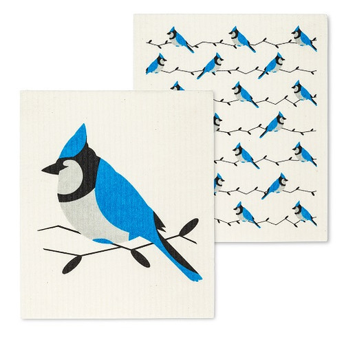 Blue Jay Swedish Dishcloths. Set of 2