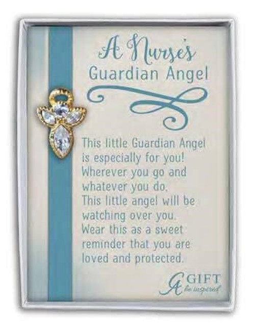 GOLD NURSE GUARDIAN ANGEL PIN W/CRYSTAL GIFT BOXED
