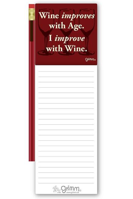 Magnetic Notepad w/Pencil - I Improve w/wine