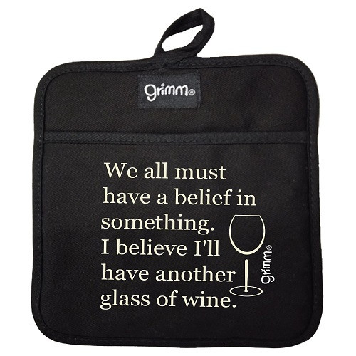 Belief In Wine . Pot Holder BLACK
