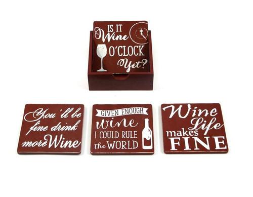 Set of 4 Wine O'clock Coaster Set w/Holder