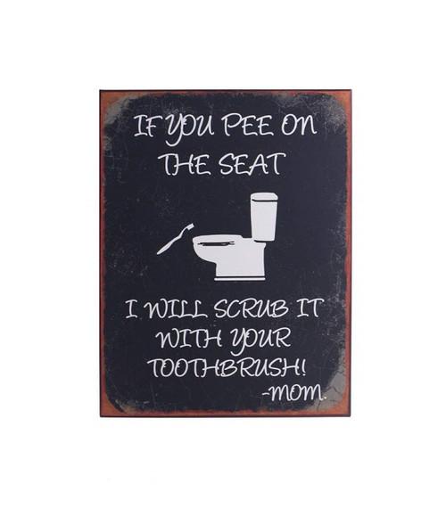 Metal Bathroom Sign Mom Message