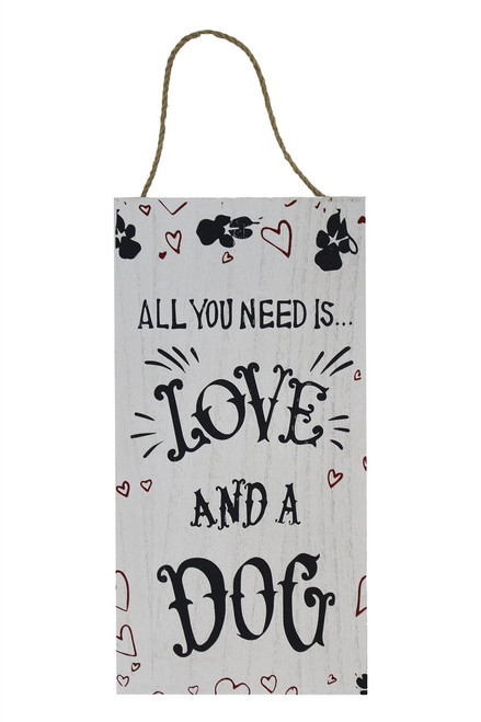 WOOD SIGN w/ ROPE-...LOVE AND A DOG