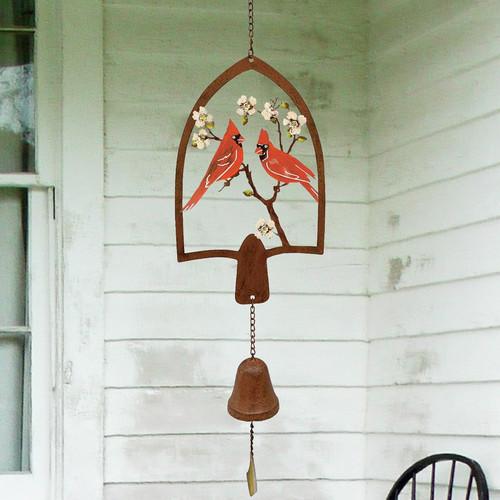 Hanging Bell w/Cardinals Metal