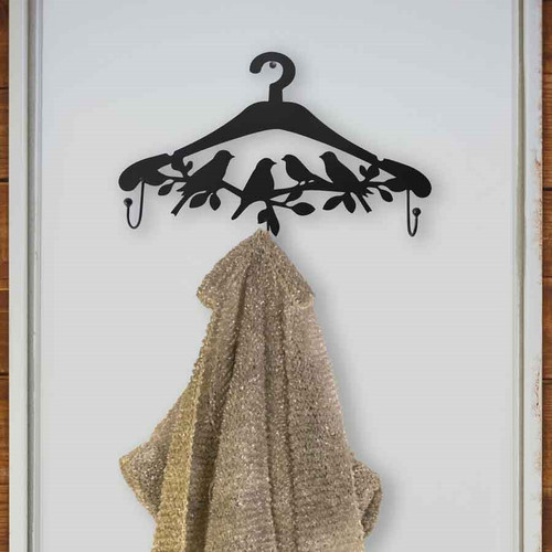 Birds on the Branch Wall Mounted Coat Hanger with 3 Hooks