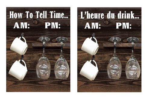 METAL SIGN TIME TO DRINK (REVERSIBLE) English/French