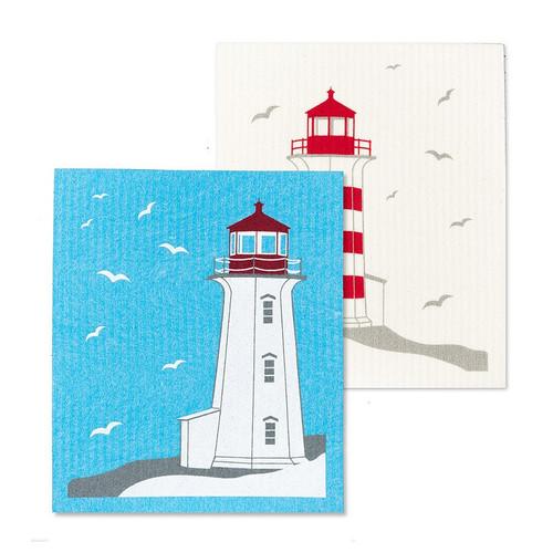 Lighthouses Swedish Dishcloths. Set of 2