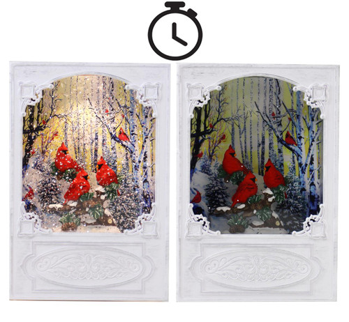 Cardinal LED Book Style Looking LED Water Lantern In Swirling Glitter