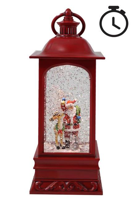Vintage Red Water Spinner Lantern w/Santa & Deer