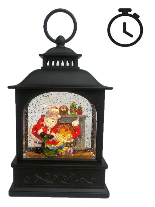 LED Water Spinner Lantern Santa w/fireplace