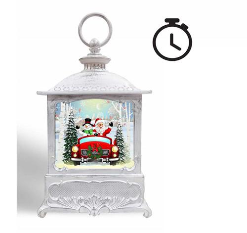 LED Water Spinner Lantern Santa & Snowman