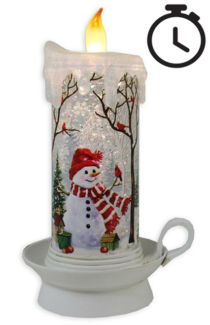 Antique White LED Water Spinner Candle with Snowman