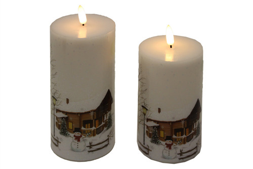 2 Piece Wax LED Candle w/Timer Snowman Scene