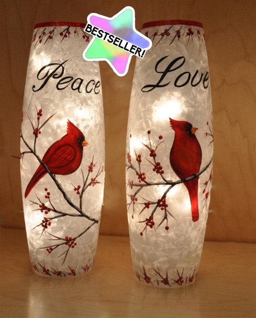 LED Painted Lamp Cardinals (Plug In) 2 Styles to choose from