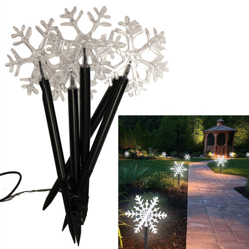 8PC SOLAR SNOW FLAKES STAKES