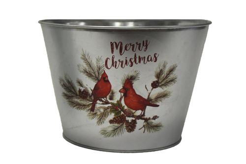 Large Galvanized Metal Bucket w/Cardinals