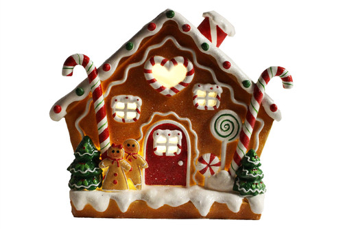 LED Gingerbread House with Candy Canes