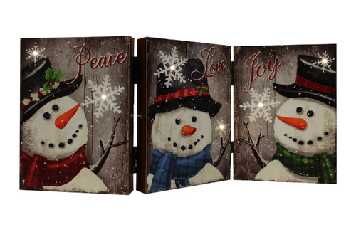 Rustic Look LED Hinged Snowman Hinged Table/Shelf Decor