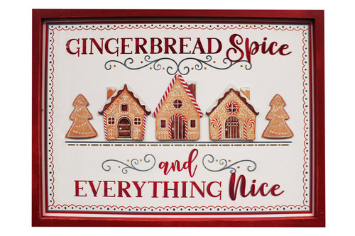 Framed White Wood Wall Art Gingerbread Spice