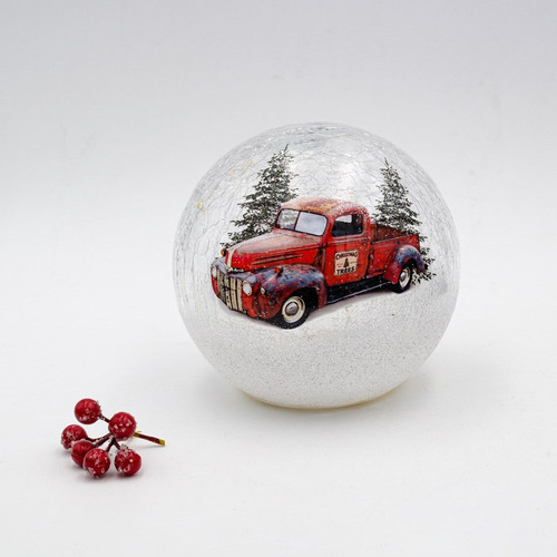 Classic Red Truck in an LED Globe