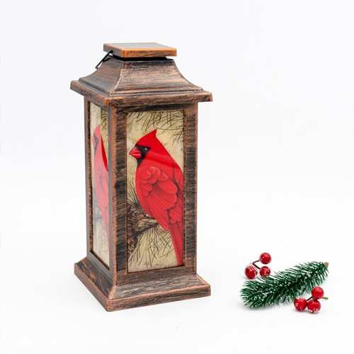 LED Bronze Lantern with Cardinals on Each Side