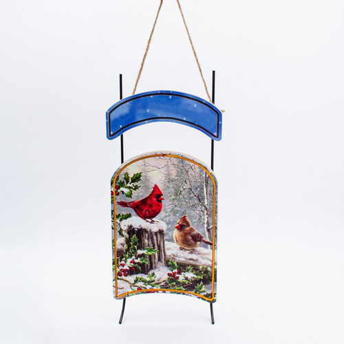 Decorative Sleigh with Cardinals