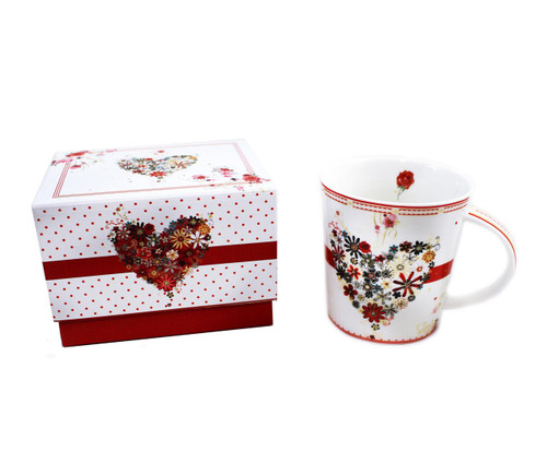 Mug with Matching Gift Box - Floral Heart