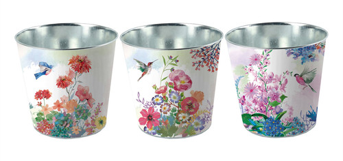 Metal Pots - Flower Design (3 Designs to choose from)