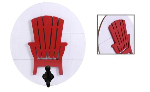Large Wood Plaque w Muskoka Chair & Large Hook