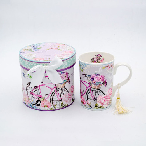 Ceramic Mug with Bicycle and Flowers /Matching Gift Box