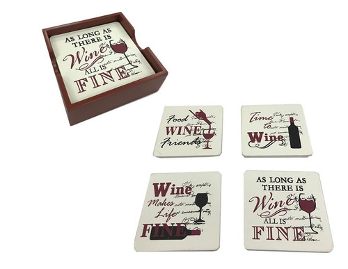 Coasters with Funny Wine Sayings (set of 4)