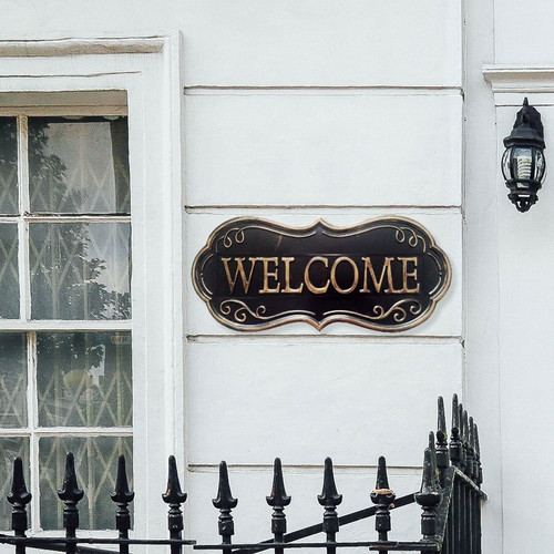 Welcome Hanging Metal Wall Sign