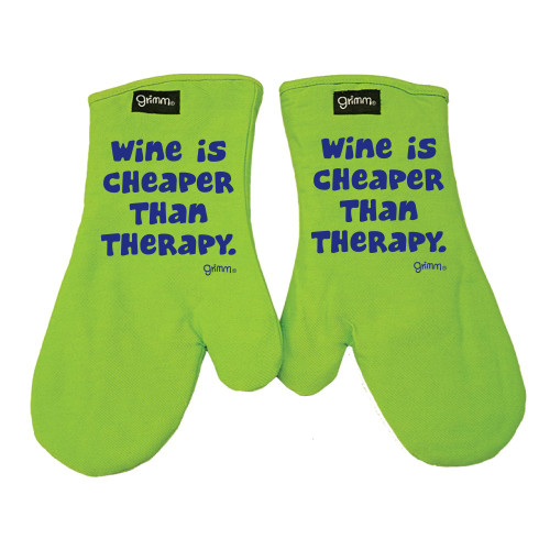 Oven Mitt Set - Wine Cheaper than Therapy
