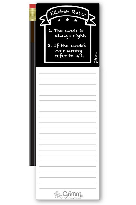 Magnetic Notepad w/Pencil Kitchen Rules