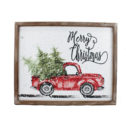MERRY CHRISTMAS TRUCK WALL PLAQUE