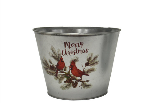 Small Galvanized Metal Pot w/Cardinals
