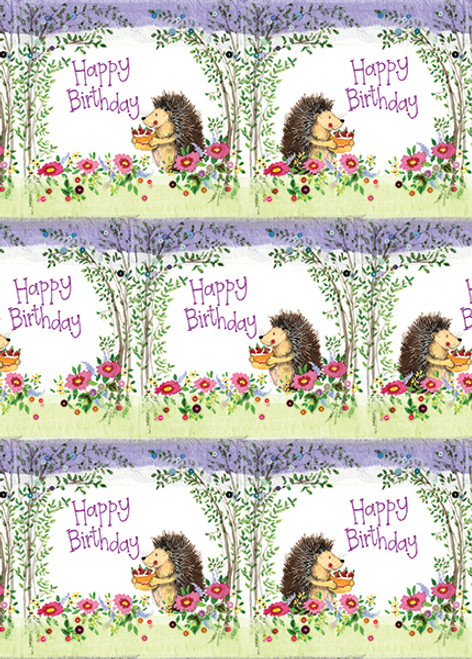 Wrapping Paper Birthday - Hedgehog